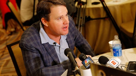 <p>               FILE - In this Tuesday, March 26, 2019, file photo, Washington Redskins head coach Jay Gruden speaks to the media during the NFC/AFC coaches breakfast during the annual NFL football owners meetings, in Phoenix. Just when the Redskins thought they found their long-term solution at quarterback, they're back to the drawing board. (AP Photo/Matt York, File)             </p>