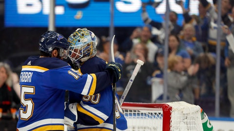 <p>               St. Louis Blues' Robby Fabbri, left, and goaltender Jordan Binnington celebrate after defeating the Winnipeg Jets in Game 6 of an NHL first-round hockey playoff series, Saturday, April 20, 2019, in St. Louis. (AP Photo/Jeff Roberson)             </p>