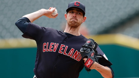 <p>               Cleveland Indians starting pitcher Shane Bieber throws during the first inning of a baseball game against the Detroit Tigers, Thursday, April 11, 2019, in Detroit. (AP Photo/Carlos Osorio)             </p>