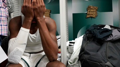 <p>               Michigan State's Gabe Brown reacts in the locker room after the team's 61-51 loss to Texas Tech in the semifinals of the Final Four NCAA college basketball tournament, Saturday, April 6, 2019, in Minneapolis. (AP Photo/David J. Phillip)             </p>