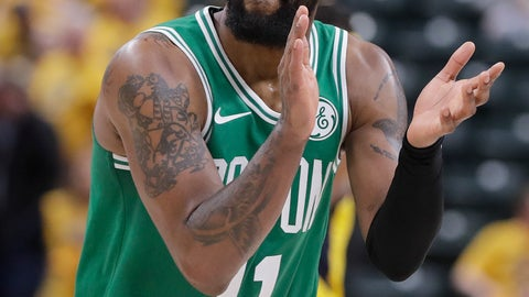 <p>               Boston Celtics' Kyrie Irving reacts during the second half of Game 3 of the team's NBA basketball first-round playoff series against the Indiana Pacers, Friday, April 19, 2019, in Indianapolis. Boston won 104-96. (AP Photo/Darron Cummings)             </p>