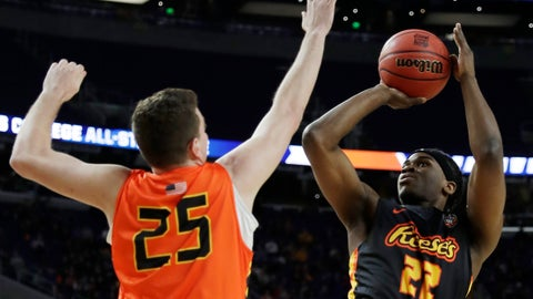 <p>               College of Charleston's Jarrell Brantley shoots over Northern Kentucky's Drew McDonald (25) during the College All-Star game the Final Four NCAA college basketball tournament, Friday, April 5, 2019, in Minneapolis. (AP Photo/David J. Phillip)             </p>
