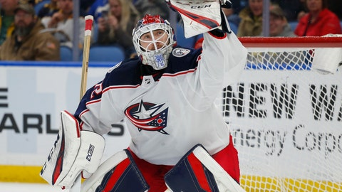 <p>               Columbus Blue Jackets goalie Sergei Bobrovsky makes a glove-save during the third period of an NHL hockey game against the Buffalo Sabres, Sunday, March 31, 2019, in Buffalo, N.Y. (AP Photo/Jeffrey T. Barnes)             </p>