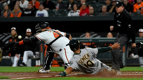 <p>               Oakland Athletics Marcus Semien (10) scores next to Baltimore Orioles catcher Jesus Sucre (40) on a double by Matt Chapman during the third inning of a baseball game Wednesday, April 10, 2019, in Baltimore. (AP Photo/Will Newton)             </p>