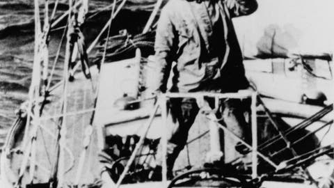 <p>               FILE - In this April 21, 1969, file photo, Robin Knox-Johnston waves from the bow of his 32-foot yacht Suhaili as he passes Bishop Rock Lighthouse off the coast of the Isles of Scilly, England. Monday, April 22, 2019, commemorates the 50th anniversary of the finish, when Knox-Johnston achieved the nautical equivalent of climbing Mount Everest when he became the first man to sail alone around the world nonstop. (AP Photo/File)             </p>