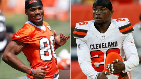 <p>               FILE - At left, in a June 13, 2017, file photo, Cleveland Browns wide receiver Ricardo Louis (80) warms up during NFL football practice at the team's training facility, in Berea, Ohio. At right, in an Aug. 23, 2018, file photo, Cleveland Browns defensive back Derrick Kindred stretches before an NFL football game against the Philadelphia Eagles, in Cleveland. The Browns released safety Derrick Kindred and wide receiver Ricardo Louis, two more former draft picks who didn't pan out. (AP Photo/Ron Schwane, File)             </p>