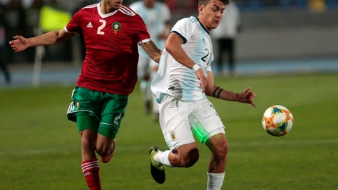 <p>               Argentina's Paulo Dybala, right, Morocco's Hakimi Achraf challenge for the ball during an international friendly soccer match between Morocco and Argentina in Tangier, Morocco, Tuesday, March 26, 2019. (AP Photo/Mosa'ab Elshamy)             </p>