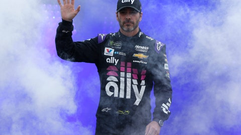 <p>               Jimmie Johnson waves to the crowd before the NASCAR Cup Series auto race at Richmond Raceway in Richmond, Va., Saturday, April 13, 2019. (AP Photo/Steve Helber)             </p>