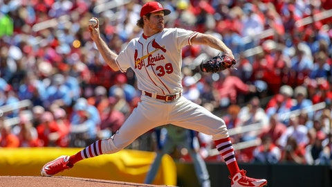 <p>               St. Louis Cardinals starting pitcher Miles Mikolas (39) throws during the first inning of a baseball game against the New York Mets Saturday, April 20, 2019, in St. Louis. (AP Photo/Scott Kane)             </p>