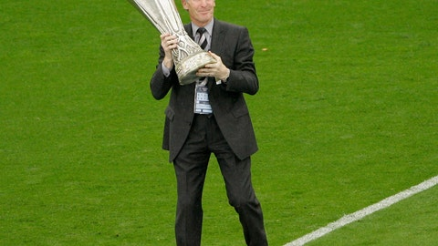 <p>               FILE - In this Wednesday May 16, 2007 file photo Scottish soccer legend Billy McNeill holds the UEFA Cup before the start of the UEFA Cup final soccer match between Sevilla and Espanyol at Hampden Park, Glasgow, Scotland. Legendary former Celtic captain Billy McNeill, the first Briton to lift the European Cup, has died aged 79. (AP Photo/Martin Cleaver, File)             </p>