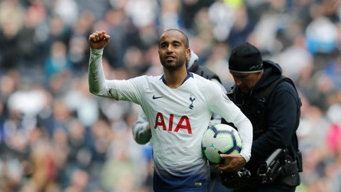 <p>               Tottenham's Lucas Moura applauds fans at the end of the English Premier League soccer match between Tottenham Hotspur and Huddersfield Town at Tottenham Hotspur stadium in London, Saturday, April 13, 2019.(AP Photo/Frank Augstein)             </p>