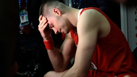 <p>               Texas Tech's Matt Mooney reacts in the locker room after the team's 85-77 loss to Virginia in the overtime in the championship of the Final Four NCAA college basketball tournament, Monday, April 8, 2019, in Minneapolis. (AP Photo/Jeff Roberson)             </p>