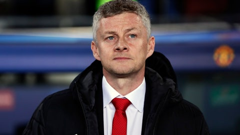 <p>               Manchester United coach Ole Gunnar Solskjaer looks out from the bench prior the Champions League quarterfinal, second leg, soccer match between FC Barcelona and Manchester United at the Camp Nou stadium in Barcelona, Spain, Tuesday, April 16, 2019. (AP Photo/Manu Fernandez)             </p>