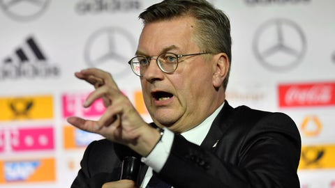 <p>               FILE -- In this Tuesday, May, 15, 2018 photo the President of the German soccer association DFB, Reinhard Grindel, talks at the German Football Museum in Dortmund, Germany. (AP Photo/Martin Meissner, file)             </p>