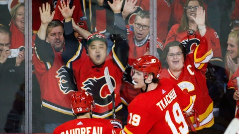 <p>               Calgary Flames' Matthew Tkachuk, right, celebrates his goal against the Colorado Avalanche during the second period of Game 1 in an NHL hockey first-round playoff series Thursday, April 11, 2019, in Calgary, Alberta. (Jeff McIntosh/The Canadian Press via AP)             </p>