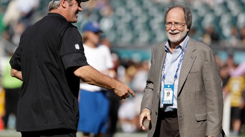 <p>               In this Sept. 25, 2016, photo, Howard Katz, right, and Philadelphia Eagles head coach Doug Pederson are seen during an NFL football game against the Pittsburgh Steelers, in Philadelphia. Katz has the most unenviable task in the National Football League. As the league's senior vice president of broadcasting and media operations, he is the point person for formulating the schedule and trying to make the executives of the league's four broadcast partners happy. Before the public got their first look at the upcoming regular-season schedule on Wednesday, April 17, 2019, Katz relayed to Fox, CBS, NBC and ESPN what games they received. (AP Photo/Michael Perez)             </p>