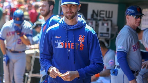 <p>               New York Mets' Jacob deGrom stands in the dugout prior to a baseball game against the St. Louis Cardinals, Saturday, April 20, 2019, in St. Louis. (AP Photo/Scott Kane)             </p>