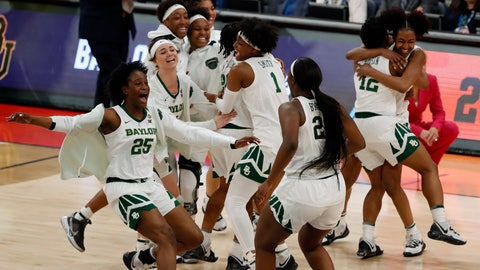 <p>               Baylor players celebrate their 72-67 win over Oregon during a Final Four semifinal of the NCAA women's college basketball tournament Friday, April 5, 2019, in Tampa, Fla. (AP Photo/Mark LoMoglio)             </p>