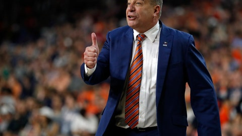 <p>               Auburn head coach Bruce Pearl directs his team during the second half in the semifinals of the Final Four NCAA college basketball tournament, Saturday, April 6, 2019, in Minneapolis. (AP Photo/Charlie Neibergall)             </p>