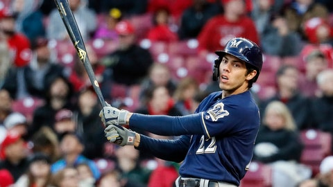 <p>               Milwaukee Brewers' Christian Yelich reacts to a swinging strike against Cincinnati Reds starting pitcher Tanner Roark in the second inning of a baseball game, Monday, April 1, 2019, in Cincinnati. (AP Photo/John Minchillo)             </p>