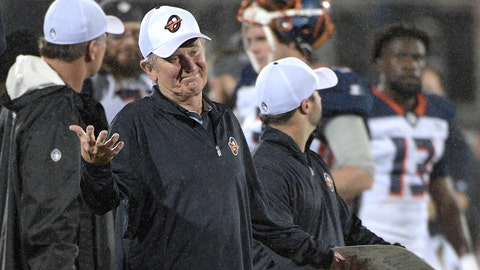 <p>               FILE - In this Feb. 9, 2019, file photo, Orlando Apollos coach Steve Spurrier reacts after a play during the second half of the team's Alliance of American Football game against the Atlanta Legends, in Orlando, Fla. The Alliance of American Football is suspending operations eight games into its first season. A person with knowledge of the decision tells The Associated Press the eight-team spring football league is not folding, but games will not be played this weekend. The decision was made by majority owner Tom Dundon. The person spoke to The Associated Press on condition of anonymity because league officials were still working through details of the suspension. An announcement from the league is expected later Tuesday, April 2, 2019.(AP Photo/Phelan M. Ebenhack, File)             </p>