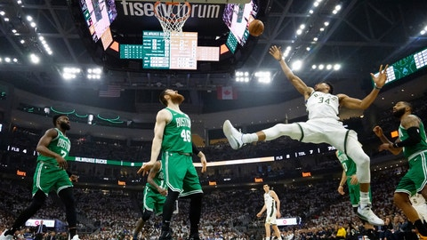 <p>               Milwaukee Bucks' Giannis Antetokounmpo shoots during the first half of Game 2 of a second round NBA basketball playoff series against the Boston Celtics Tuesday, April 30, 2019, in Milwaukee. (AP Photo/Morry Gash)             </p>