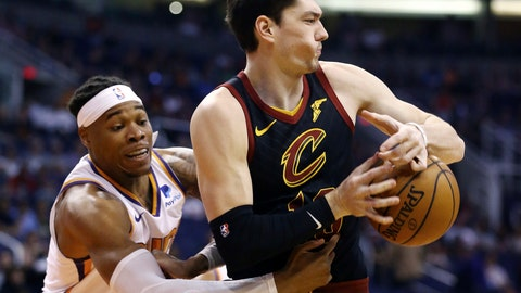 <p>               Cleveland Cavaliers forward Cedi Osman, right, has the ball stripped away by Phoenix Suns forward Richaun Holmes, left, during the first half of an NBA basketball game Monday, April 1, 2019, in Phoenix. (AP Photo/Ross D. Franklin)             </p>