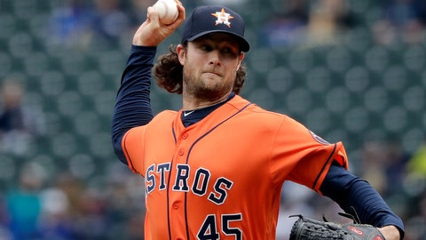 <p>               Houston Astros starting pitcher Gerrit Cole throws against the Seattle Mariners in the first inning of a baseball game Sunday, April 14, 2019, in Seattle. (AP Photo/Elaine Thompson)             </p>