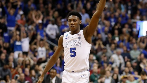 <p>               Duke forward RJ Barrett (5) reacts after scoring against Michigan State during the second half of an NCAA men's East Regional final college basketball game in Washington, Sunday, March 31, 2019. (AP Photo/Alex Brandon)             </p>