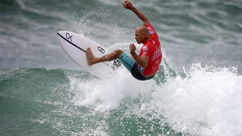 <p>               In this March 20, 2019, photo Kelly Slater of the U.S. surfs during his heat in the Sydney Surf Pro at Manly in Sydney, Australia. Slater placed last in his three-man opening heat and was last again in his second-round elimination heat Thursday, April 4, 2019, at the season-opening Quiksilver Pro at Australia's Gold Coast in the World Surf League event which marks the start of Olympic qualifying for surfing. (Dan Himbrechts/AAP Image via AP)             </p>