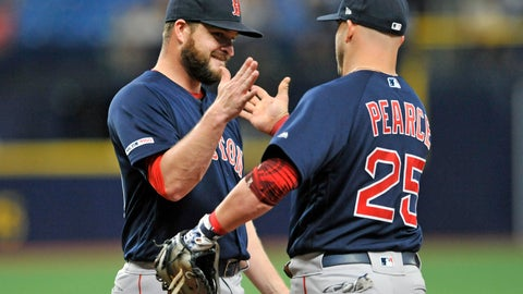<p>               Boston Red Sox closer Ryan Brasier, left, celebrates with first baseman Steve Pearce (25) after the Red Sox beat the Tampa Bay Rays 4-3 during an 11-inning baseball game Sunday, April 21, 2019, in St. Petersburg, Fla. (AP Photo/Steve Nesius)             </p>