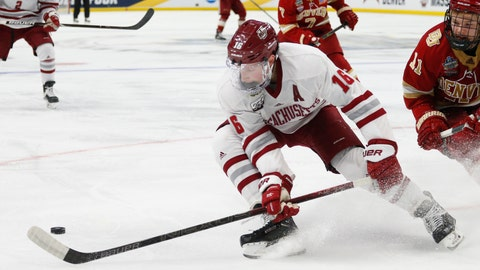 <p>               Massachusetts defenseman Cale Makar (16) controls the puck during the second period in a semifinal against Denver during the Frozen Four NCAA men's college hockey tournament Thursday, April 11, 2019, in Buffalo, N.Y. (AP Photo/Jeffrey T. Barnes)             </p>