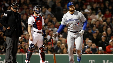 <p>               Toronto Blue Jays' Rowdy Tellez watches his two-run home run next to Boston Red Sox catcher Blake Swihart and umpire Lance Barrett during the third inning of a baseball game Thursday, April 11, 2019, at Fenway Park in Boston. (AP Photo/Winslow Townson)             </p>