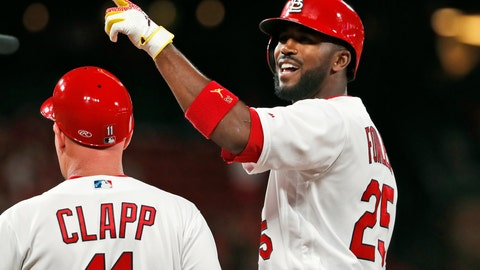<p>               St. Louis Cardinals' Dexter Fowler (25) celebrates after hitting an RBI-single during the seventh inning of a baseball game against the Milwaukee Brewers, Monday, April 22, 2019, in St. Louis. (AP Photo/Jeff Roberson)             </p>