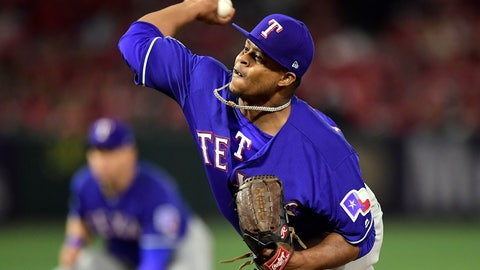 <p>               Texas Rangers starting pitcher Edinson Volquez throws during the first inning of the team's baseball game against the Los Angeles Angels on Thursday, April 4, 2019, in Anaheim, Calif. (AP Photo/Mark J. Terrill)             </p>