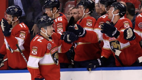 <p>               Florida Panthers center Frank Vatrano (72) is congratulated after scoring a goal during the first period of an NHL hockey game against the Washington Capitals, Monday, April 1, 2019, in Sunrise, Fla. (AP Photo/Lynne Sladky)             </p>