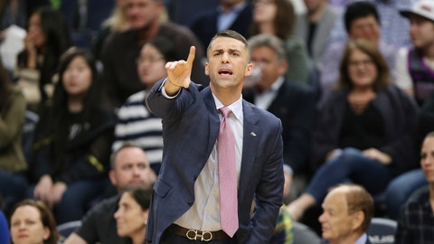 <p>               Minnesota Timberwolves coach Ryan Saunders calls out to his team during the second half of an NBA basketball game against the Golden State Warriors, Friday, March 29, 2019, in Minneapolis. Minnesota won 131-130 in overtime. (AP Photo/Stacy Bengs)             </p>