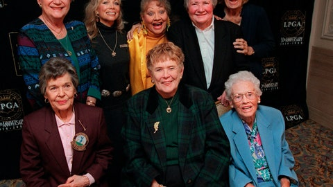 <p>               FILE - In this Oct. 19, 1999, file photo, eight founders of the Ladies Professional Golf Association (LPGA) pose at a celebration of the association's 50th anniversary in New York. Back row from left are Marilynn Smith, Marlene Hagge, Alice Bauer, Louise Suggs and Betty Jameson. Front row from left are Bettye Sanoff, Shirley Spork and Patty Berg. Marilynn Smith died Tuesday, April 9, 2019. She was 89.(AP Photo/Stuart Ramson, File)             </p>