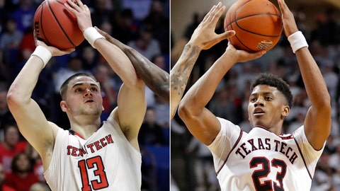 <p>               FILE - At left, in a March 22, 2019, file photo, Texas Tech guard Matt Mooney (13) shoots against Northern Kentucky during the second half of a first round men's college basketball game in the NCAA Tournament, in Tulsa, Okla. At right, in a Feb. 23, 2019, file photo, Texas Tech guard Jarrett Culver (23) shoots against Kansas during the second half of an NCAA college basketball game, in Lubbock, Texas. Texas Tech has gotten to its first Final Four with contrasting guards. Culver is the sophomore standout, Mooney is a graduate transfer. (AP Photo/File)             </p>