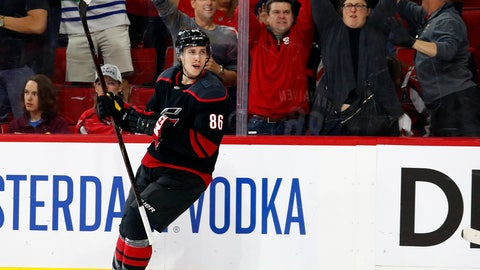 <p>               Carolina Hurricanes' Teuvo Teravainen, of Finland, reacts after scoring a goal against the Washington Capitals during the second period of Game 4 of an NHL hockey first-round playoff series in Raleigh, N.C, Thursday, April 18, 2019, (AP Photo/Karl B DeBlaker)             </p>