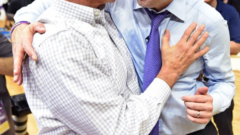 <p>               FILE - In this Feb. 23, 2019, file photo, LSU athletic director Joe Alleva, left, hugs and has a word with LSU basketball coach Will Wade after an NCAA college basketball game against Tennessee in Baton Rouge, La.  Alleva is stepping down as AD and will have a new role within the school's athletic department. The school announced Wednesday, April 17, that Alleva's new position will be as special assistant to the president for donor relations. He will remain LSU's athletic director until a successor is announced. Alleva has been LSU's athletic director since April 2008. (AP Photo/Bill Feig, File)             </p>