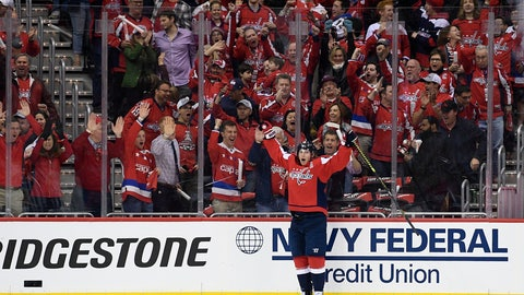<p>               Washington Capitals center Nicklas Backstrom (19), of Sweden, celebrates his goal against the Carolina Hurricanes during the first period of Game 1 of an NHL hockey first-round playoff series Thursday, April 11, 2019, in Washington. (AP Photo/Nick Wass)             </p>