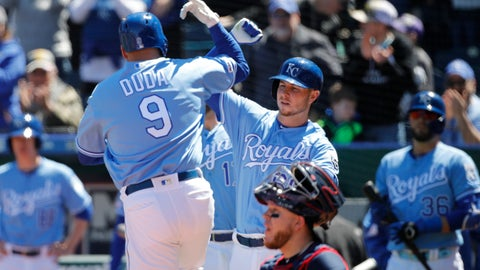 <p>               Kansas City Royals' Lucas Duda (9) celebrates with Ryan O'Hearn (66) after hitting a three-run home run in the second inning of a baseball game against the Cleveland Indians at Kauffman Stadium in Kansas City, Mo., Sunday, April 14, 2019. (AP Photo/Colin E. Braley)             </p>