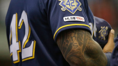 <p>               Milwaukee Brewers' Eric Thames stands for the national anthem on Jackie Robinson Day during a baseball game against the St. Louis Cardinals, Monday, April 15, 2019, in Milwaukee. (AP Photo/Jeffrey Phelps)             </p>