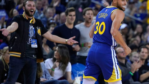 <p>               Golden State Warriors guard Stephen Curry (30) smiles after making a 3 point shot against the Cleveland Cavaliers during the second half of an NBA basketball game Friday, April 5, 2019, in Oakland, Calif. (AP Photo/Tony Avelar)             </p>