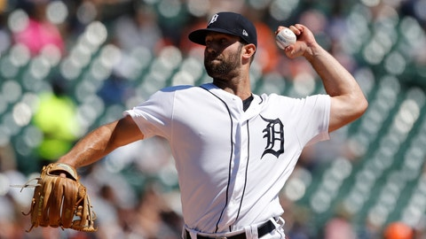 <p>               Detroit Tigers starting pitcher Daniel Norris throws during the third inning of a baseball game against the Chicago White Sox, Sunday, April 21, 2019, in Detroit. (AP Photo/Carlos Osorio)             </p>