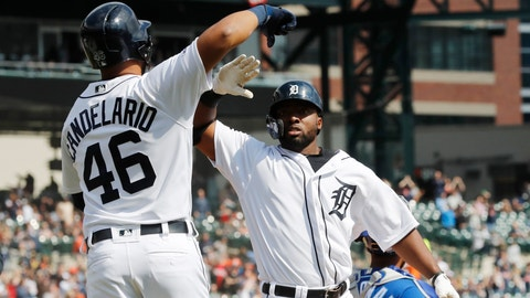 <p>               Detroit Tigers' Christin Stewart is congratulated by Jeimer Candelario after hitting a grand slam during the seventh inning of a baseball game against the Kansas City Royals, Saturday, April 6, 2019, in Detroit. (AP Photo/Carlos Osorio)             </p>