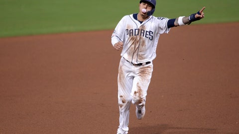 <p>               San Diego Padres' Manny Machado rounds the bases on a two-run home run by Hunter Renfroe during the first inning of a baseball game against the Arizona Diamondbacks, Tuesday, April 2, 2019, in San Diego. (AP Photo/Orlando Ramirez)             </p>