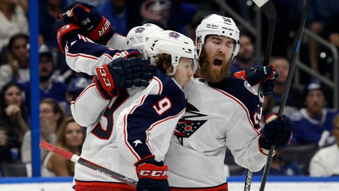 <p>               Columbus Blue Jackets left wing Artemi Panarin (9) celebrates his goal against the Tampa Bay Lightning with defenseman David Savard (58) during the third period of Game 2 of an NHL Eastern Conference first-round hockey playoff series Friday, April 12, 2019, in Tampa, Fla. (AP Photo/Chris O'Meara)             </p>