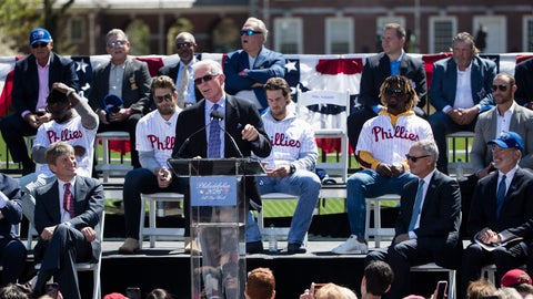 <p>               Former Philadelphia Phillies' Mike Schmidt speaks during a Major League Baseball news conference, Tuesday, April 16, 2019, on Independence Mall in Philadelphia. Baseball's 2026 All-Star Game will be played in Philadelphia to mark the 250th anniversary of the Declaration of Independence. (AP Photo/Matt Rourke)             </p>